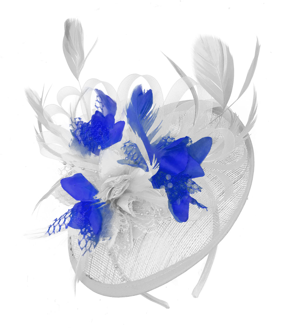Caprilite White and Royal Blue Sinamay Disc Saucer Fascinator Hat for Women Weddings Headband