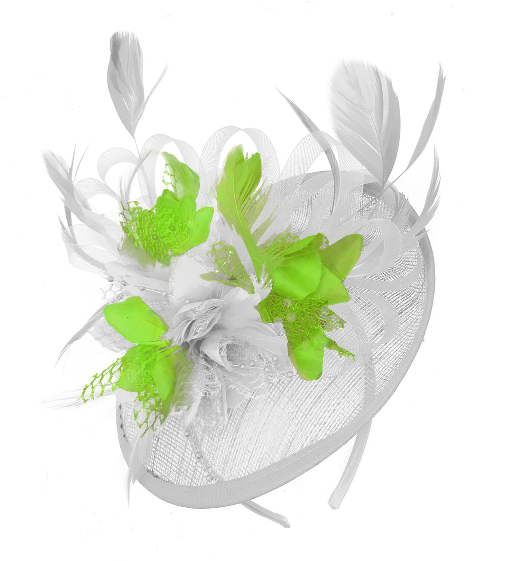 Caprilite White and Lime Sinamay Disc Saucer Fascinator Hat for Women Weddings Headband