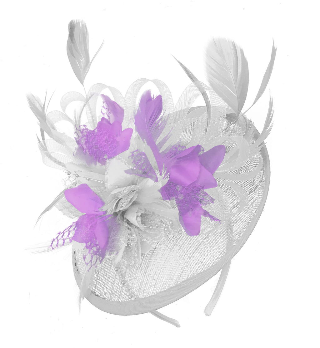 Caprilite White and Lilac Sinamay Disc Saucer Fascinator Hat for Women Weddings Headband