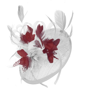 Caprilite White and Burgundy Sinamay Disc Saucer Fascinator Hat for Women Weddings Headband