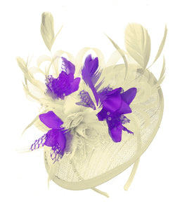 Caprilite Cream and Cadbury Sinamay Disc Saucer Fascinator Hat for Women Weddings Headband