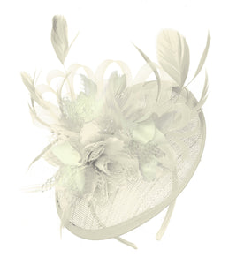 Caprilite Cream and Cream Sinamay Disc Saucer Fascinator Hat for Women Weddings Headband