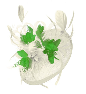 Caprilite Cream and Jade Sinamay Disc Saucer Fascinator Hat for Women Weddings Headband
