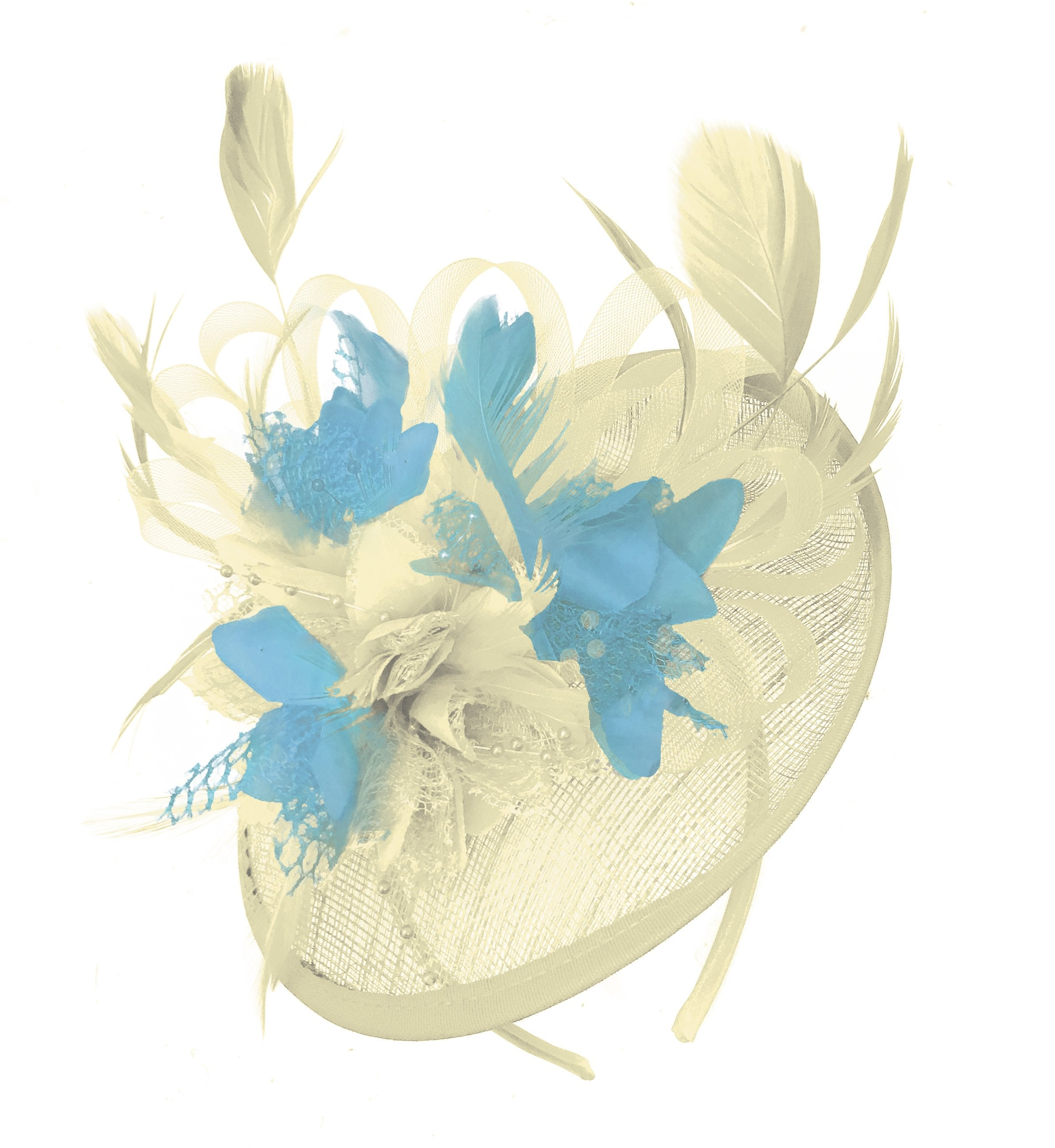 Caprilite Cream and Light Aqua Sinamay Disc Saucer Fascinator Hat for Women Weddings Headband