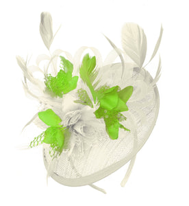 Caprilite Cream and Lime Sinamay Disc Saucer Fascinator Hat for Women Weddings Headband