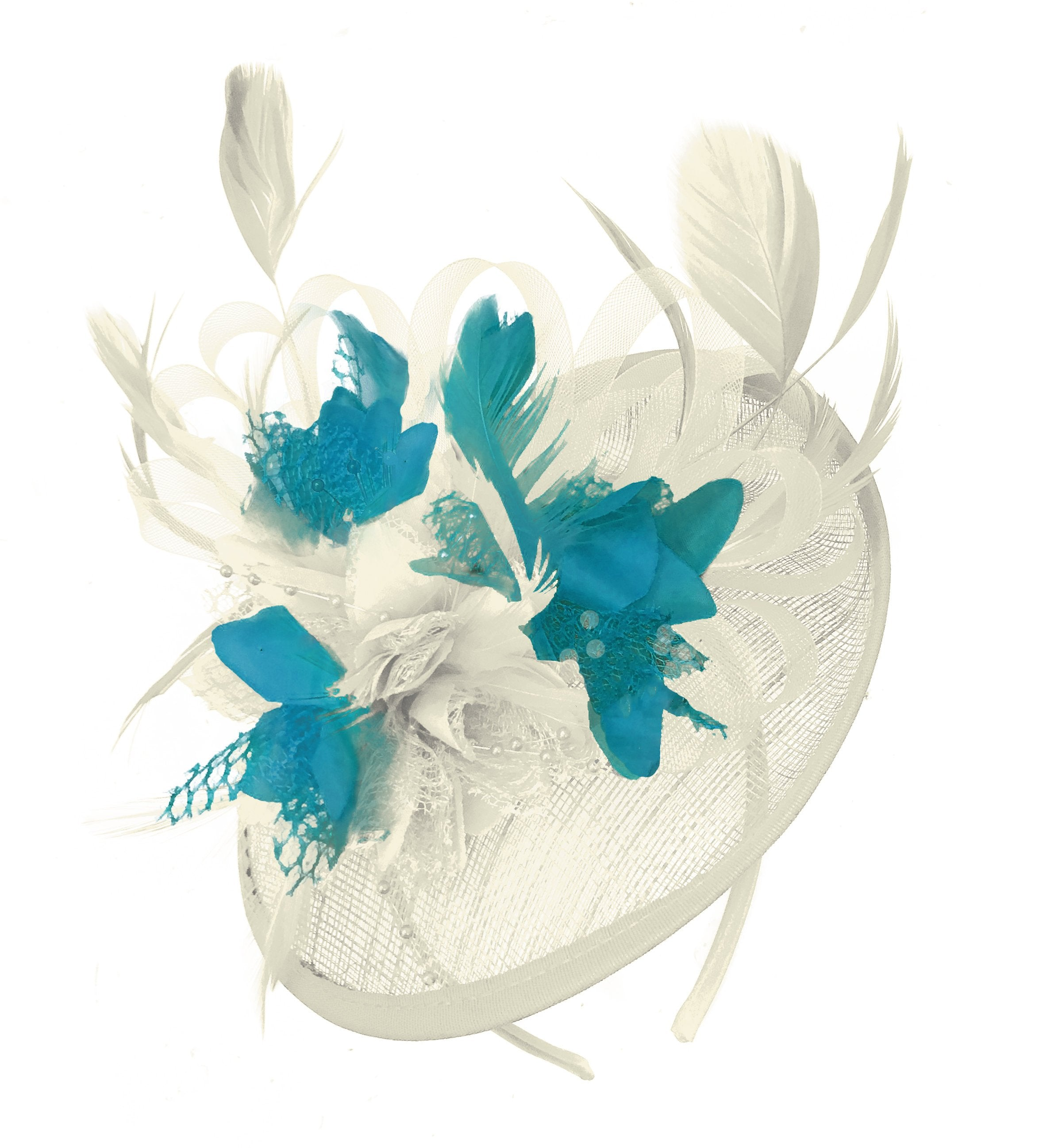 Caprilite Cream and Teal Sinamay Disc Saucer Fascinator Hat for Women Weddings Headband