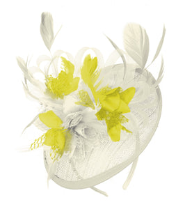 Caprilite Cream and Yellow Sinamay Disc Saucer Fascinator Hat for Women Weddings Headband