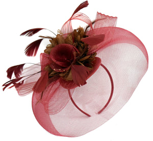 Caprilite Burgundy and Brown Fascinator on Headband Veil UK Wedding Ascot Races Hatinator