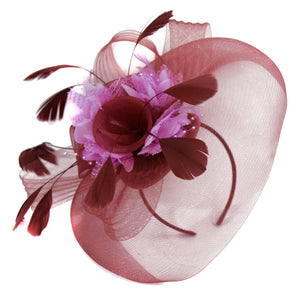 Caprilite Burgundy and Lilac Fascinator on Headband Veil UK Wedding Ascot Races Hatinator