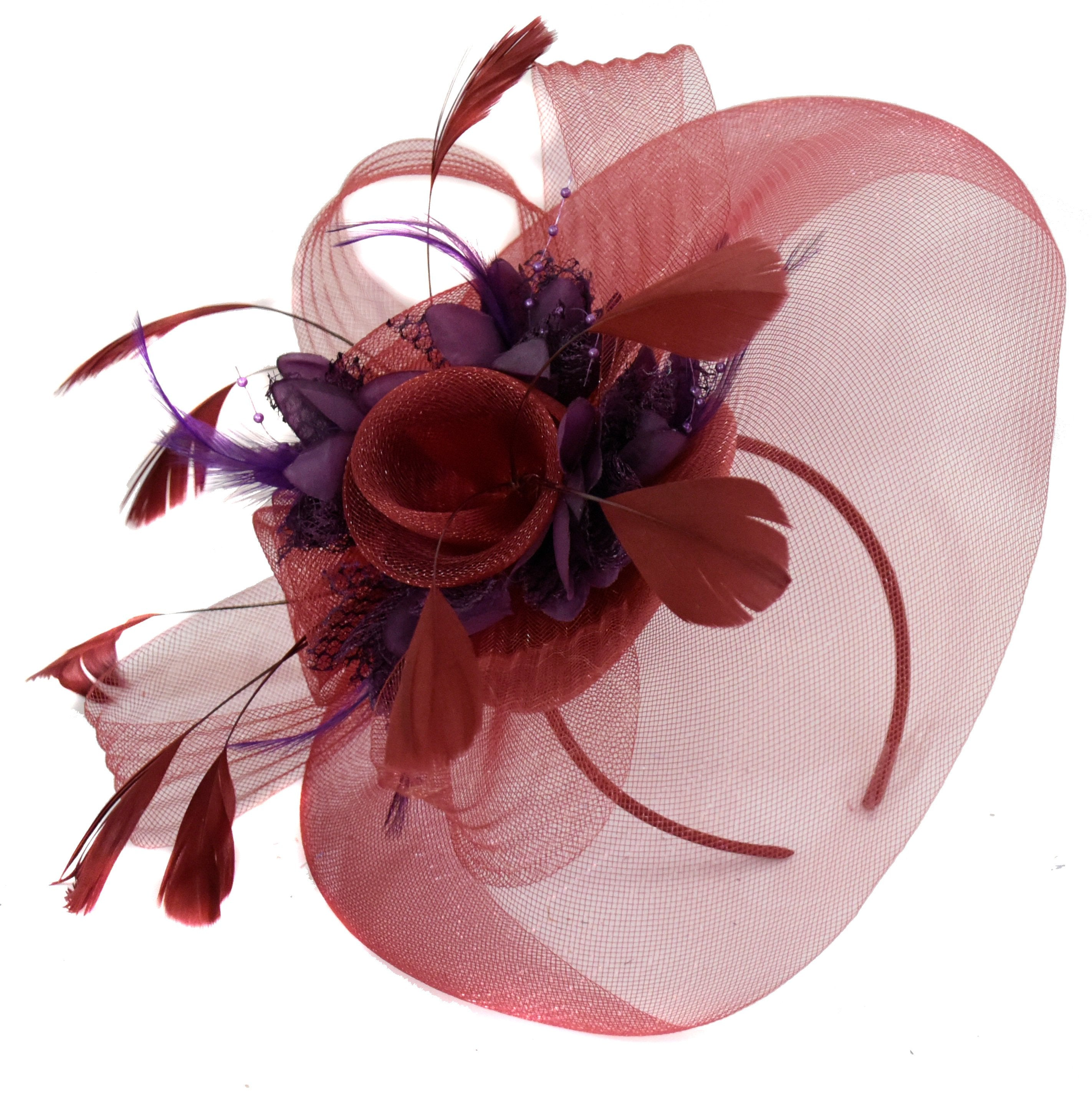 Caprilite Burgundy and Dark Purple Fascinator on Headband Veil UK Wedding Ascot Races Hatinator
