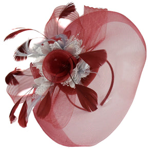 Caprilite Burgundy and silver Fascinator on Headband Veil UK Wedding Ascot Races Hatinator