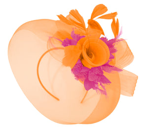 Caprilite Orange and Fuchsia Fascinator Hat Veil Net Hair Clip Ascot Derby Races Wedding Headband Feather Flower