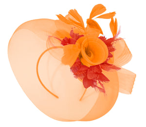 Caprilite Orange and Red Fascinator Hat Veil Net Hair Clip Ascot Derby Races Wedding Headband Feather Flower