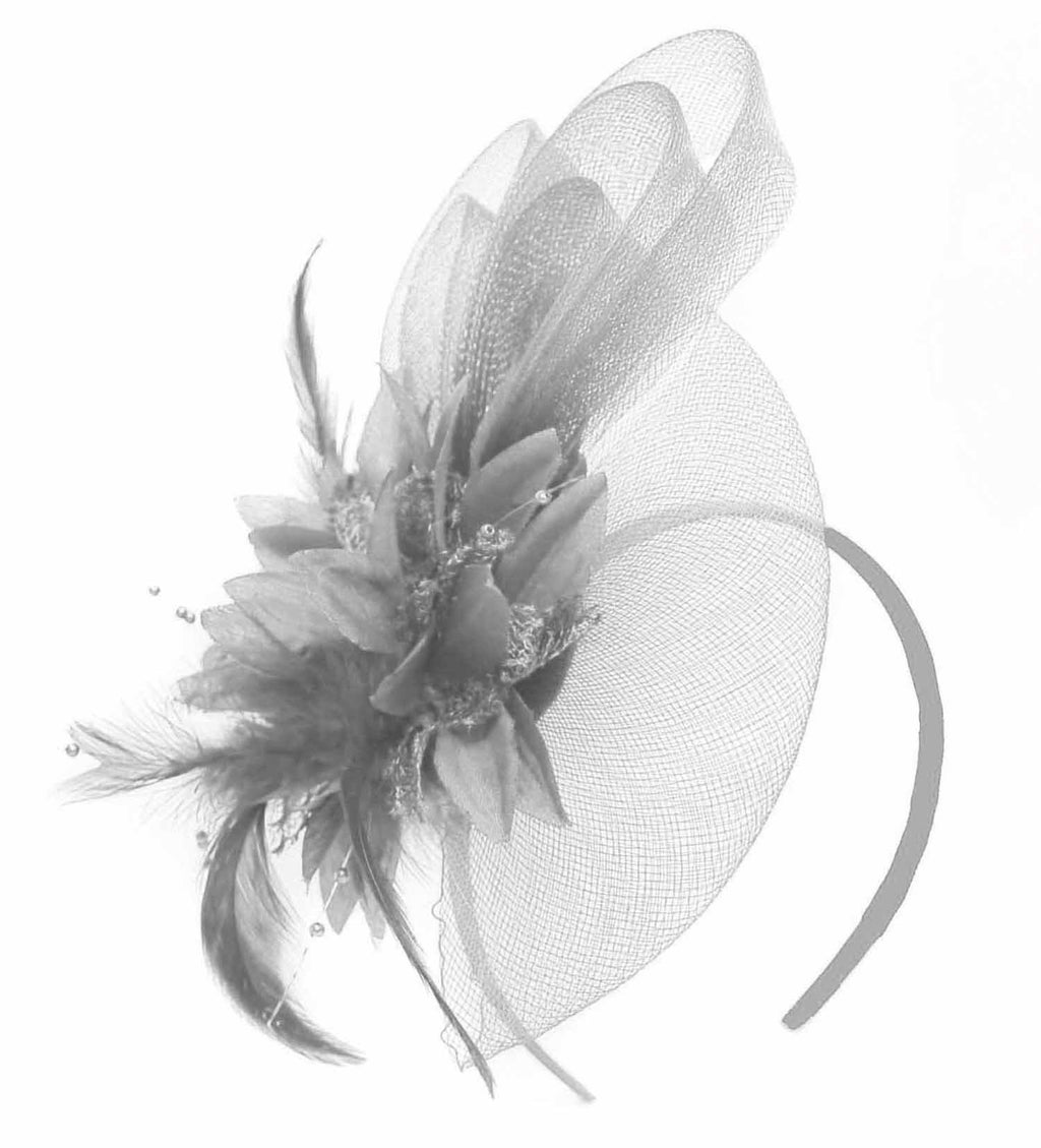 Caprilite Silver Grey Flower Veil Feathers Fascinator On Headband Wedding