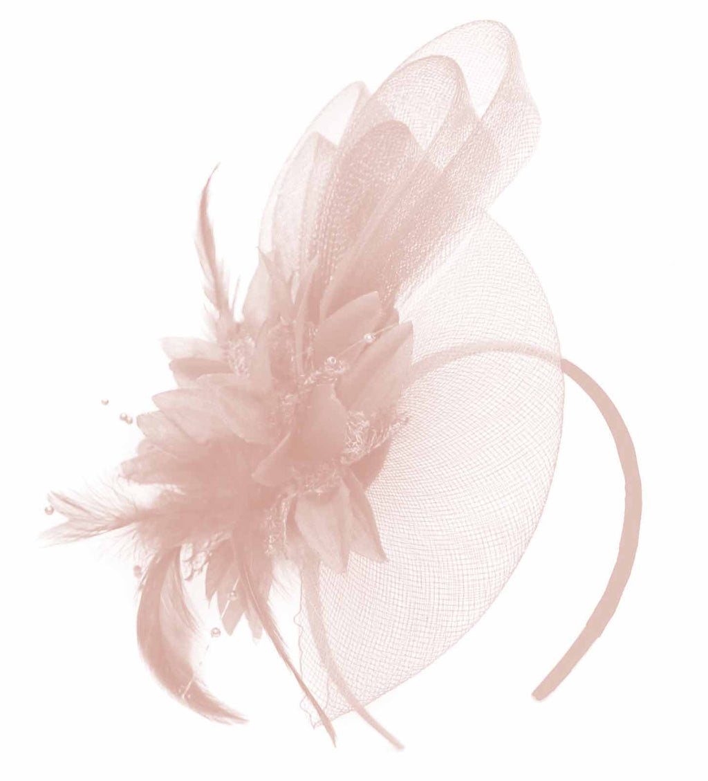 Caprilite Peach Nude Pink Flower Veil Feathers Fascinator On Headband Wedding