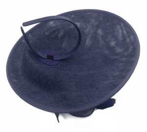 Caprilite Big Saucer Sinamay Navy Blue & White Mixed Colour Fascinator On Headband