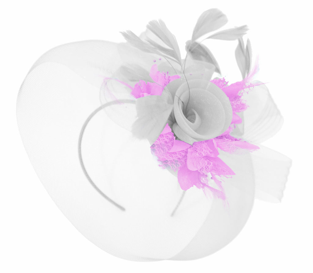 Caprilite White and Lilac Fascinator on Headband Veil UK Wedding Ascot Races Hatinator