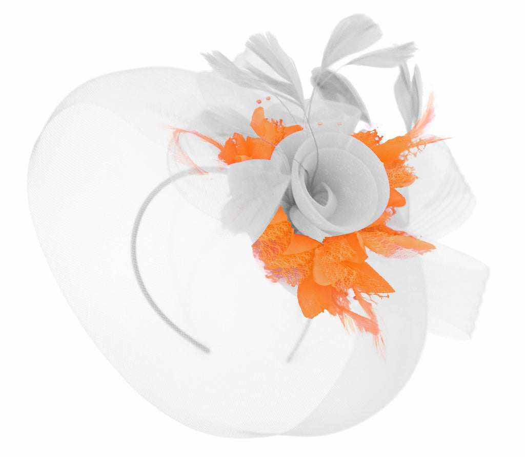 Caprilite White and Orange Fascinator on Headband Veil UK Wedding Ascot Races Hatinator