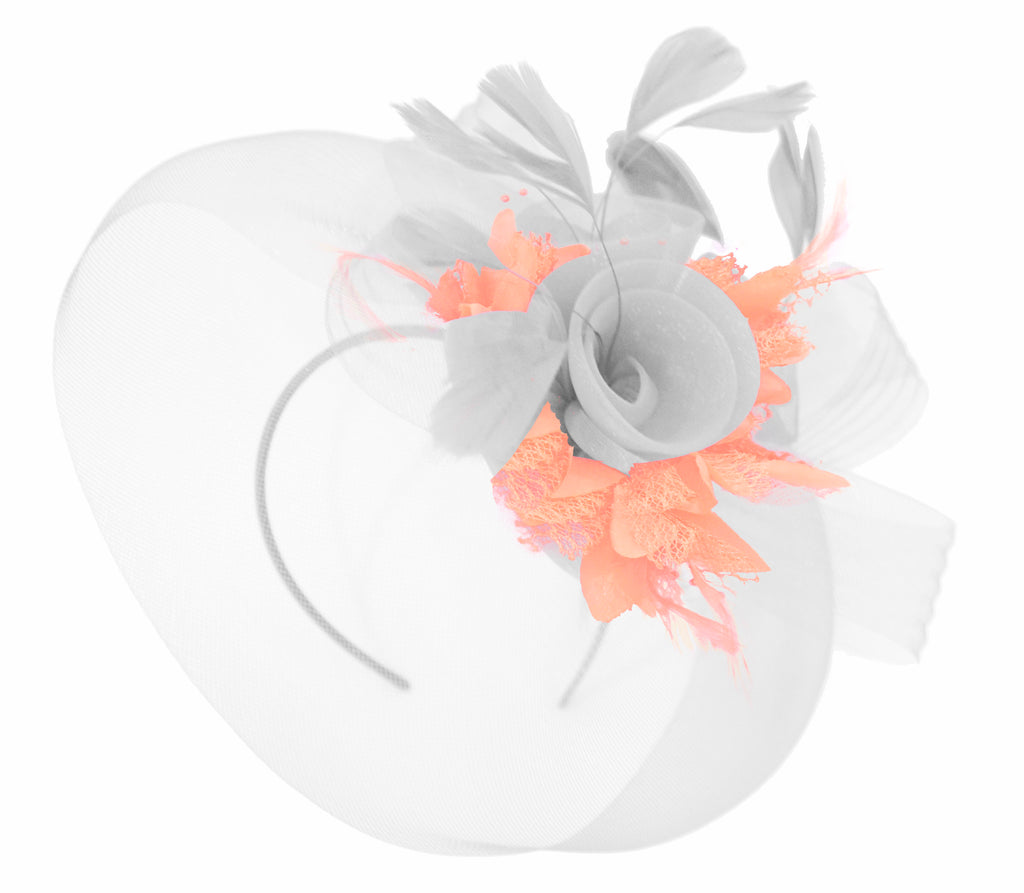 Caprilite White and Peach Fascinator on Headband Veil UK Wedding Ascot Races Hatinator