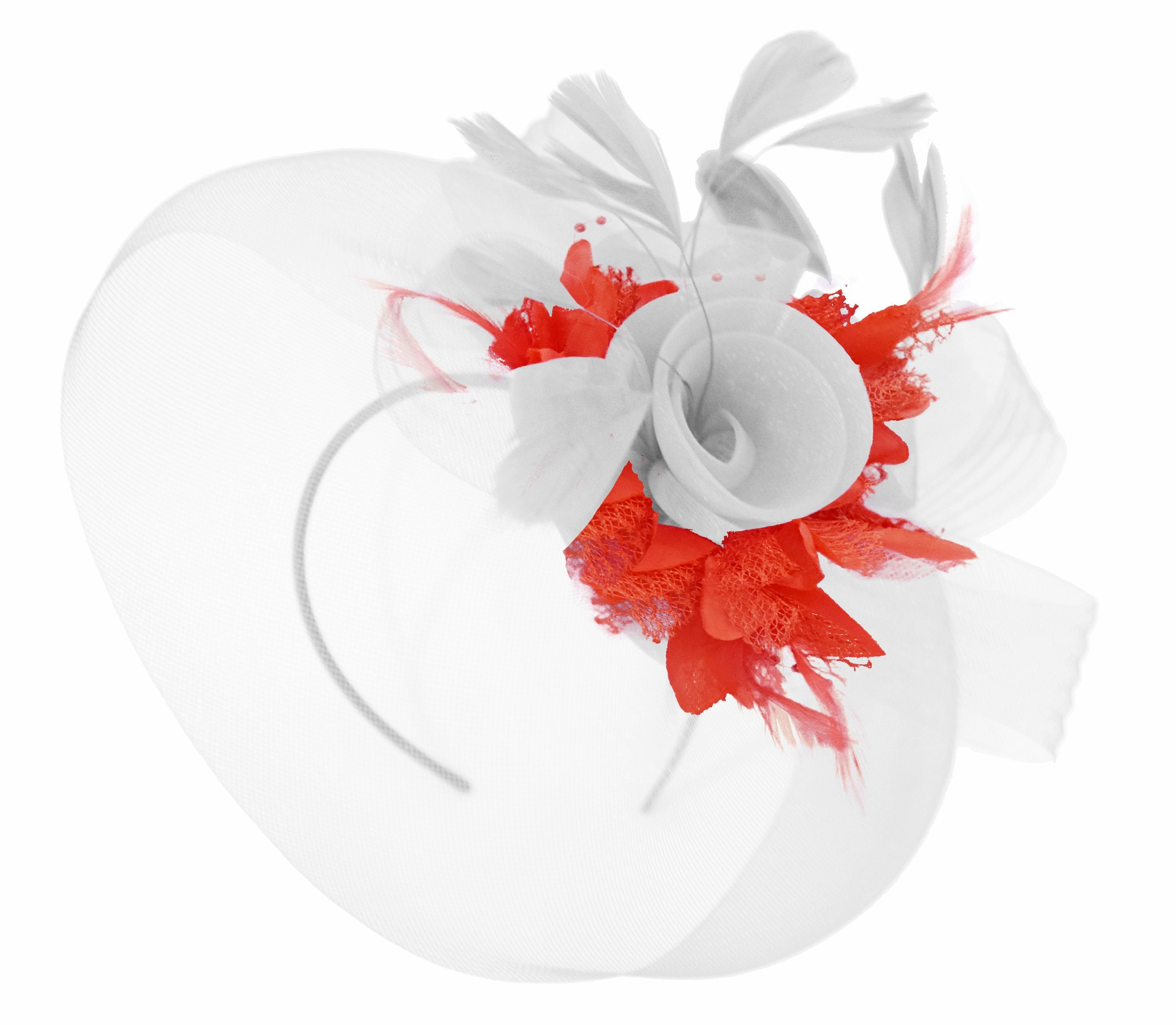 Caprilite White and Red Fascinator on Headband Veil UK Wedding Ascot Races Hatinator