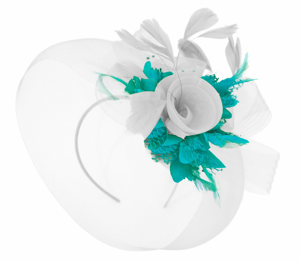 Caprilite White and Teal Fascinator on Headband Veil UK Wedding Ascot Races Hatinator