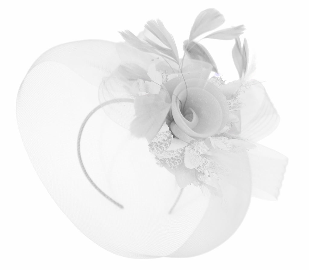 Caprilite White and White Fascinator on Headband Veil UK Wedding Ascot Races Hatinator