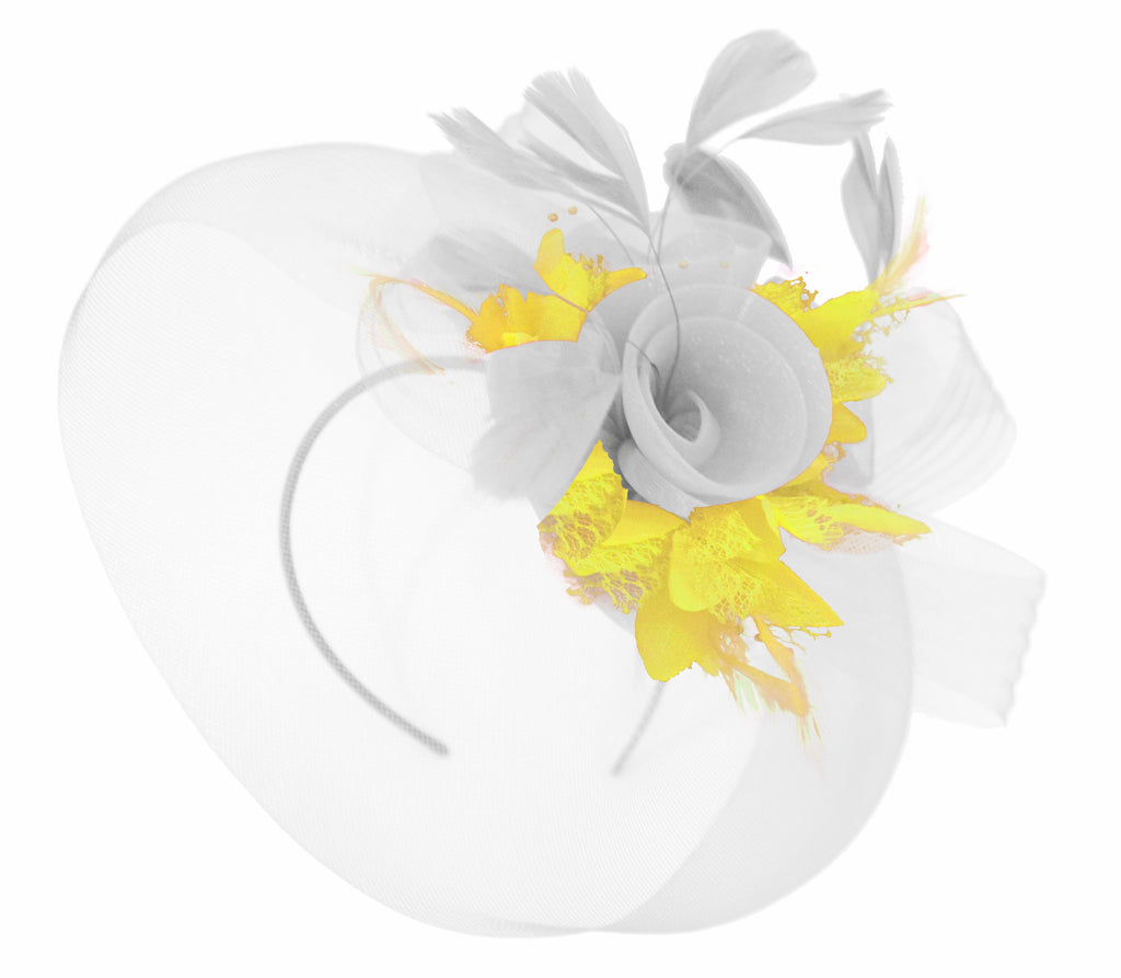 Caprilite White and Yellow Fascinator on Headband Veil UK Wedding Ascot Races Hatinator