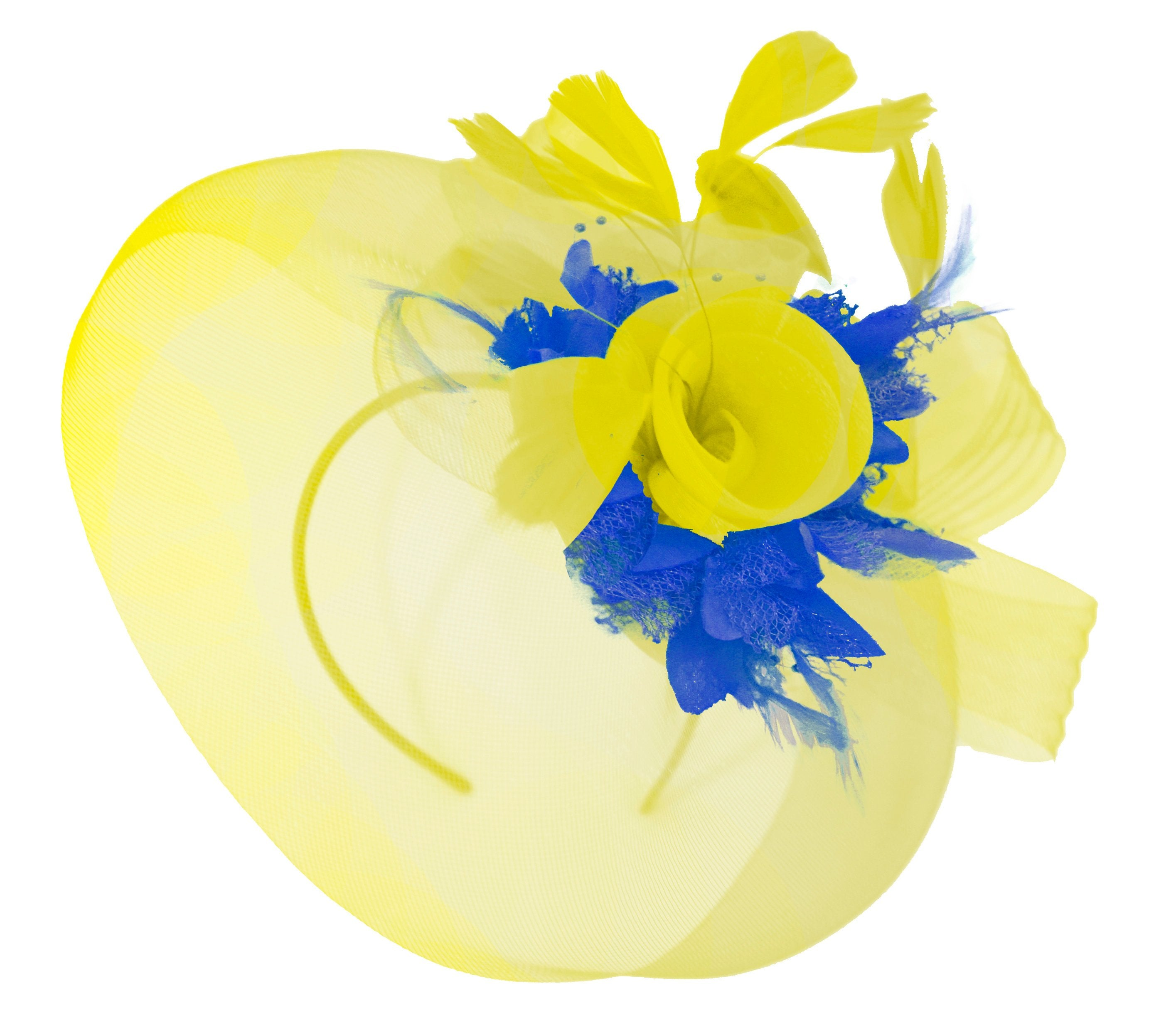 Caprilite Yellow and royal Blue Fascinator on Headband Veil UK Wedding Ascot Races Hatinator