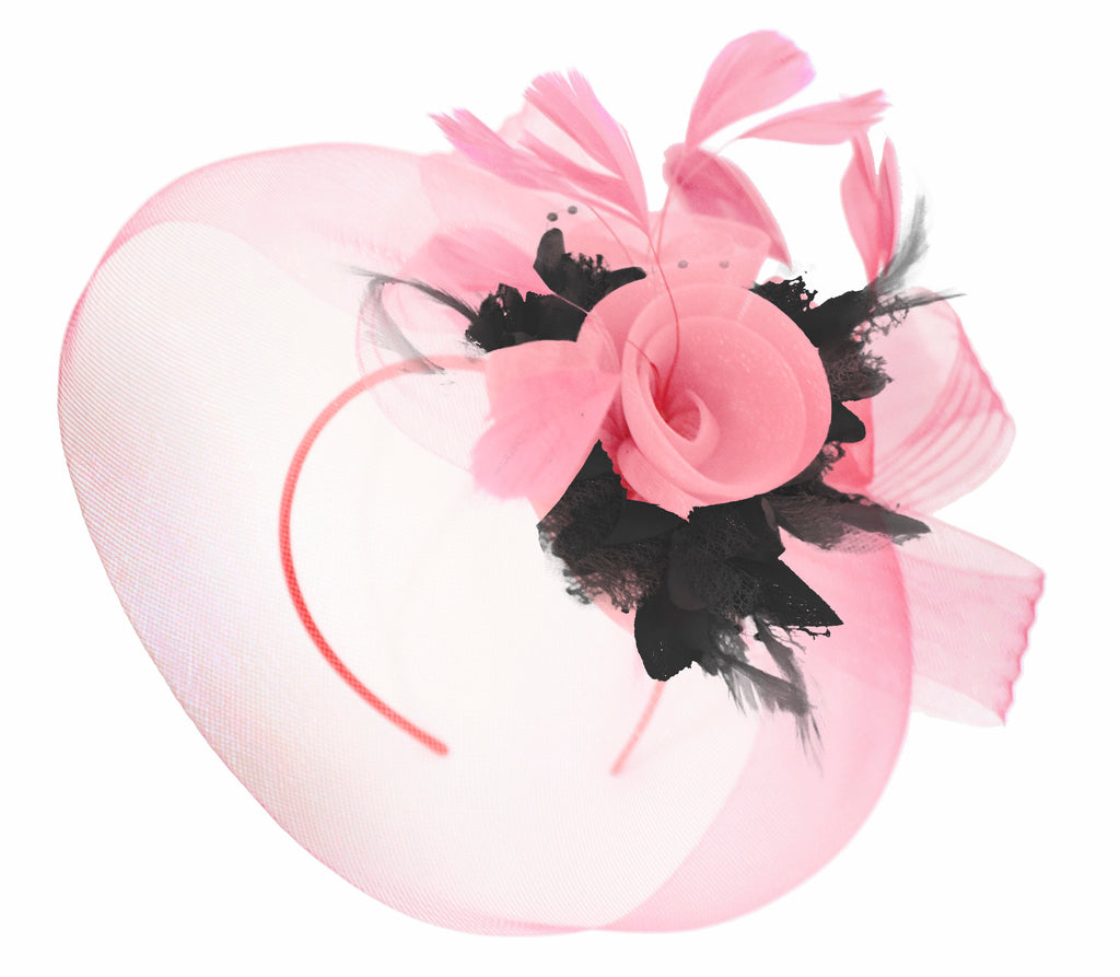 Caprilite Baby Pink and Black on Headband Veil UK Wedding Ascot Races Hatinator