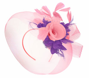Caprilite Baby Pink and Cadbury on Headband Veil UK Wedding Ascot Races Hatinator