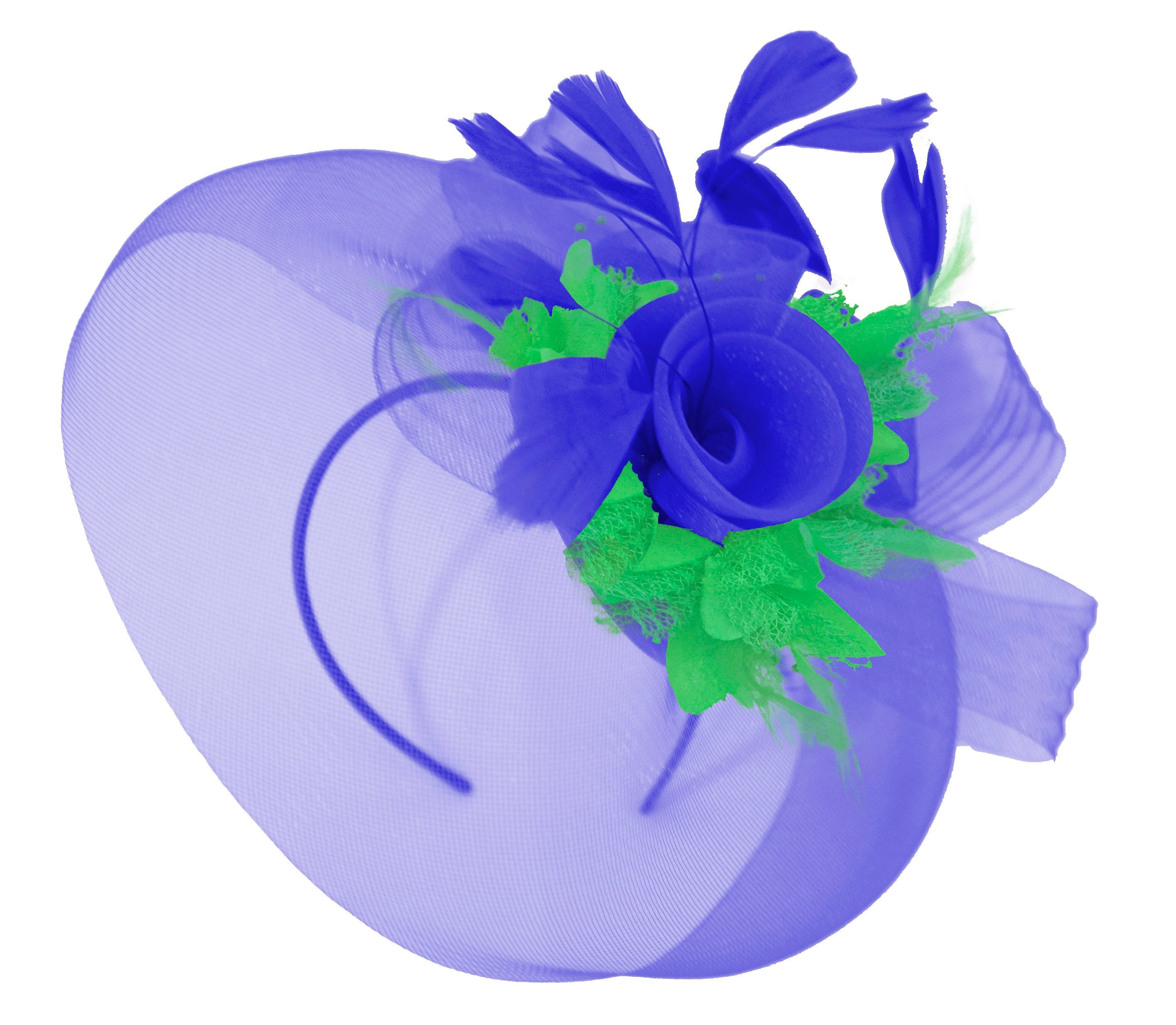 Caprilite Big Royal Blue and Grass Green Fascinator Hat Veil Net Hair Clip Ascot Derby Races Wedding Headband Feather Flower