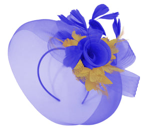 Caprilite Big Royal Blue and Mustard Fascinator Hat Veil Net Hair Clip Ascot Derby Races Wedding Headband Feather Flower