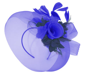 Caprilite Big Royal Blue and Navy Fascinator Hat Veil Net Hair Clip Ascot Derby Races Wedding Headband Feather Flower