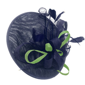 Caprilite Big Saucer Sinamay Navy Blue & Lime Green Mixed Colour Fascinator On Headband