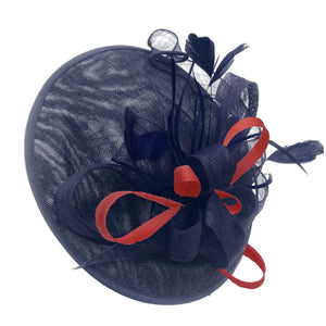 Caprilite Big Saucer Sinamay Navy Blue & Red Mixed Colour Fascinator On Headband