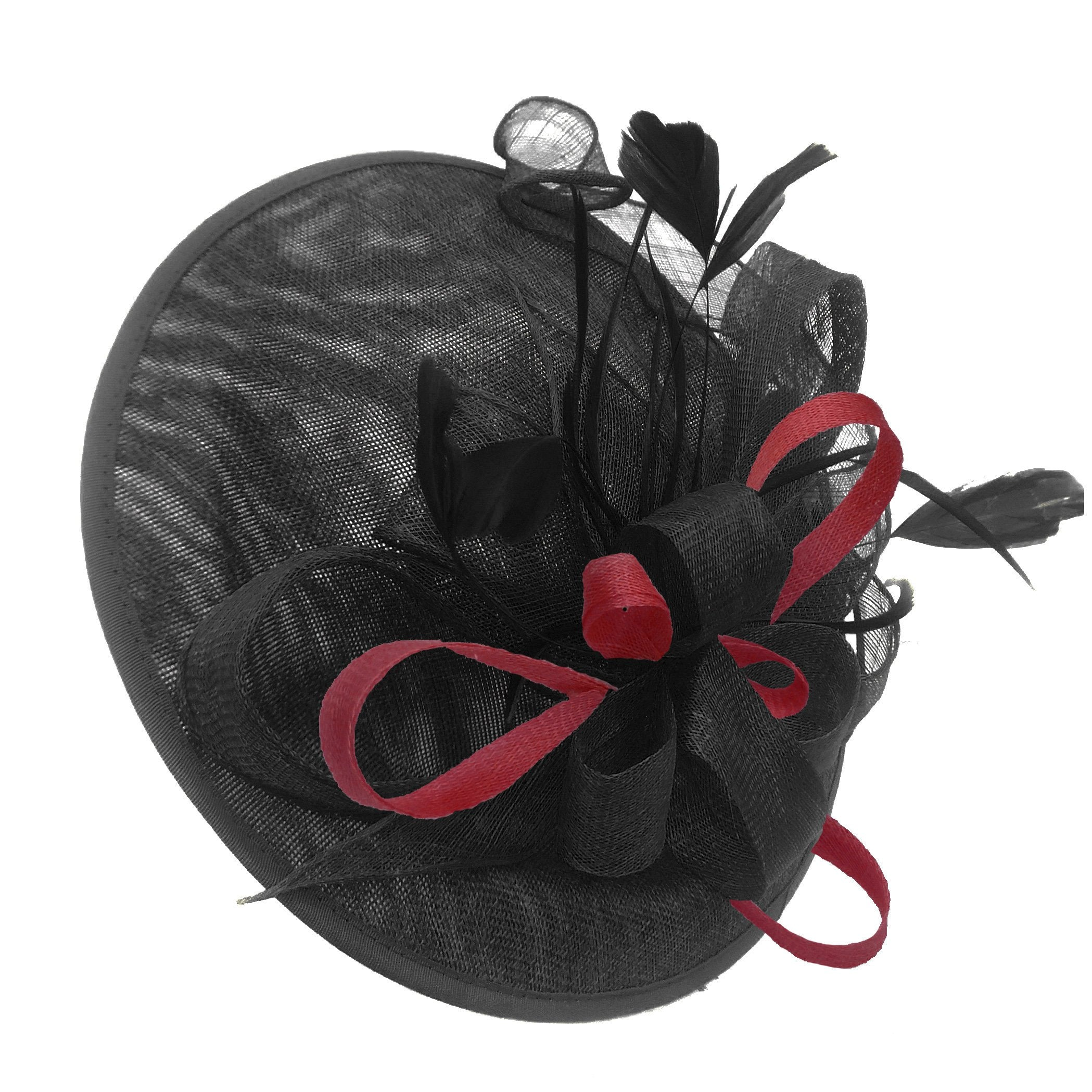 Caprilite Big Saucer Sinamay Black & Burgundy Mixed Colour Fascinator On Headband