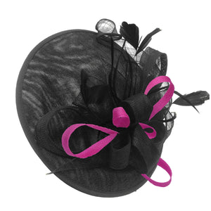 Caprilite Big Saucer Sinamay Black & Fuchsia Hot Pink Mixed Colour Fascinator On Headband