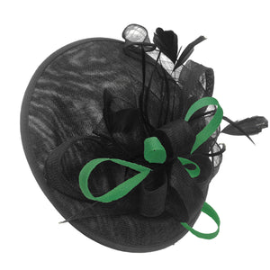 Caprilite Big Saucer Sinamay Black & Green Mixed Colour Fascinator On Headband