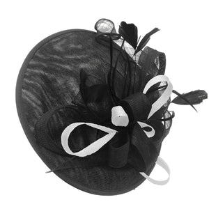 Caprilite Big Saucer Sinamay Black & White Mixed Colour Fascinator On Headband