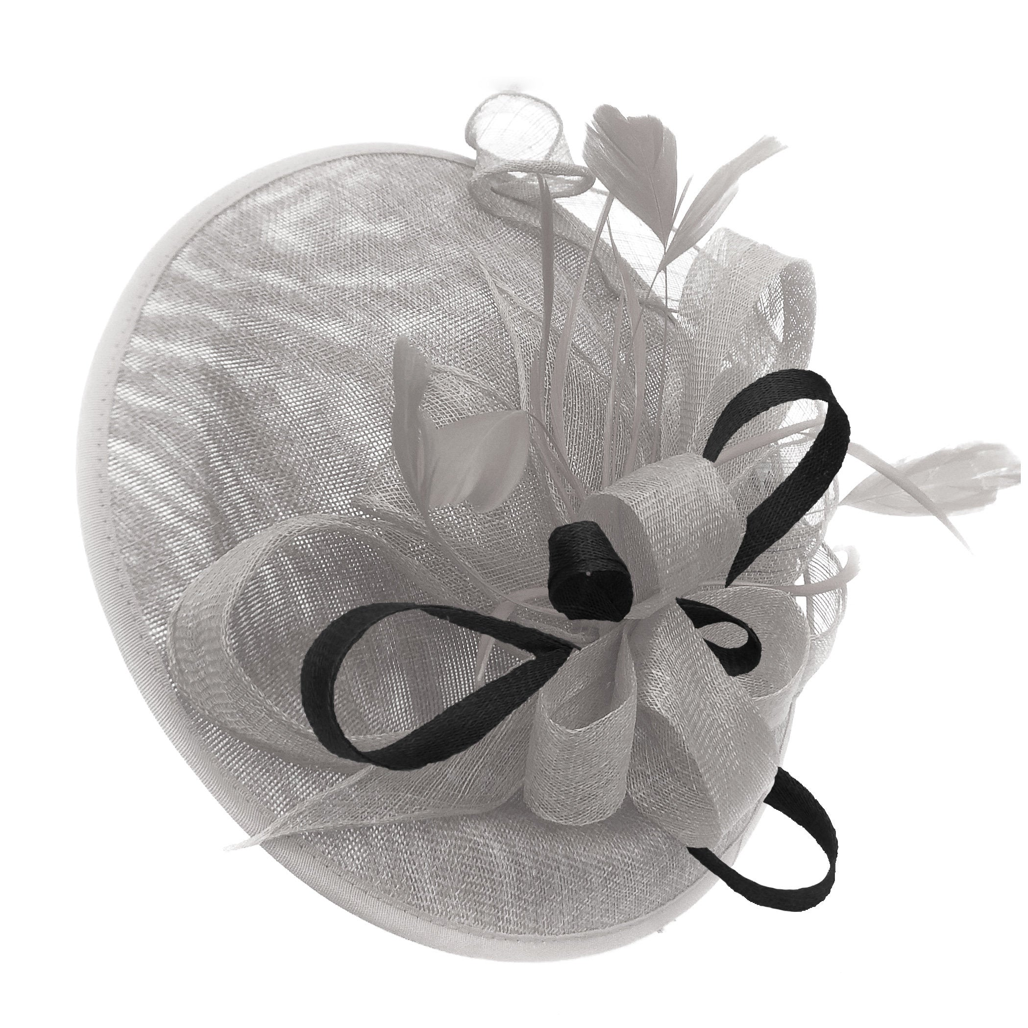 Caprilite Big Saucer Sinamay Silver Grey & Black Mixed Colour Fascinator On Headband