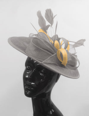 Caprilite Big Saucer Sinamay Silver Grey & Mustard Gold Mixed Colour Fascinator On Headband