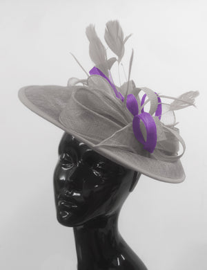Caprilite Big Saucer Sinamay Silver Grey & Cadbury Purple Mixed Colour Fascinator On Headband