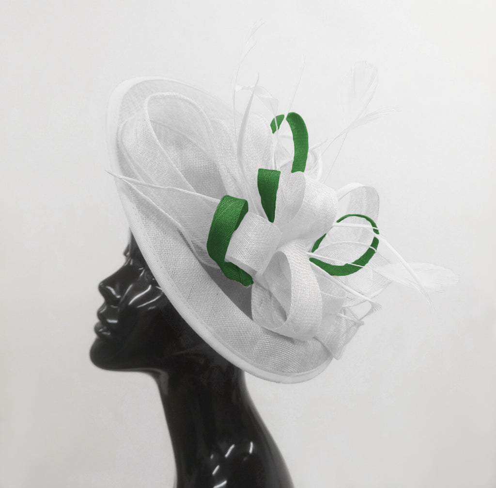 Caprilite Big Saucer Sinamay White & Green Mixed Colour Fascinator On Headband