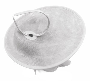 Caprilite Big Saucer Sinamay White & Silver Grey Mixed Colour Fascinator On Headband