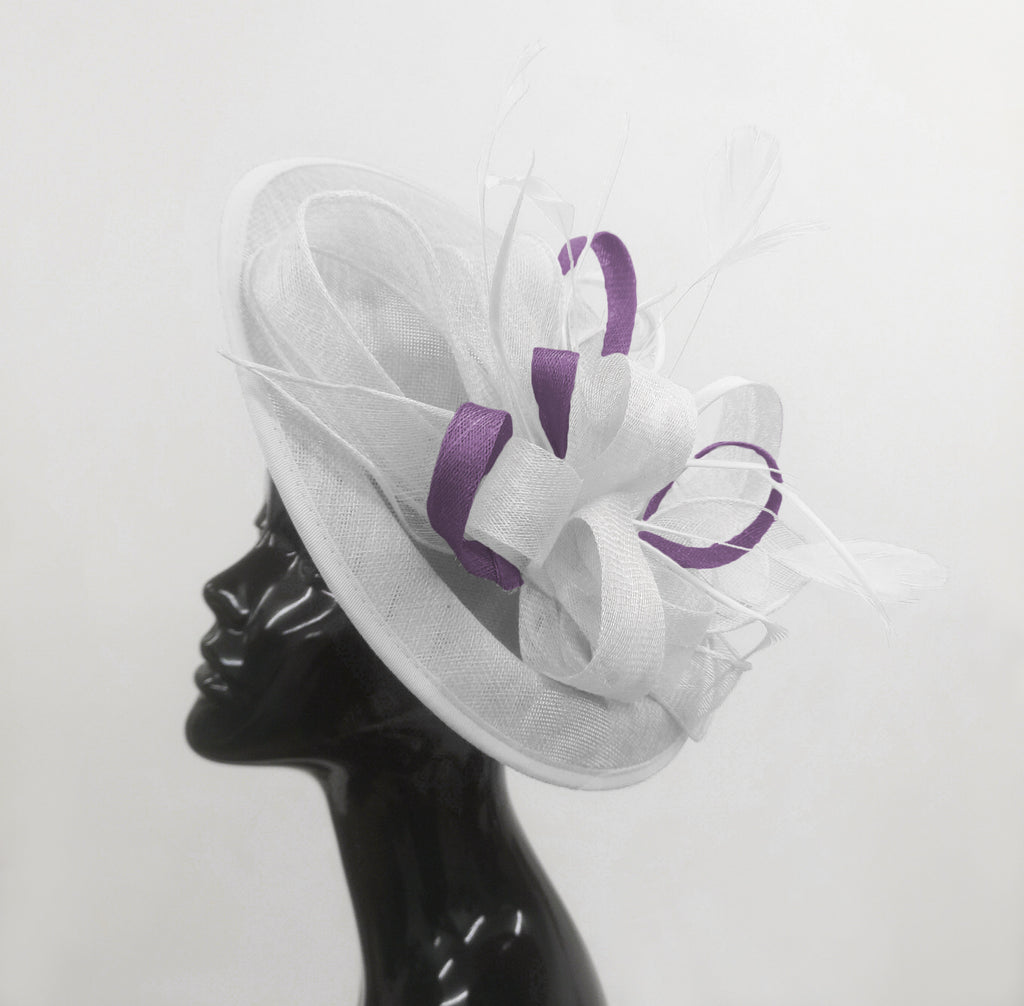 Caprilite Big Saucer Sinamay White & Lavender Purple Mixed Colour Fascinator On Headband