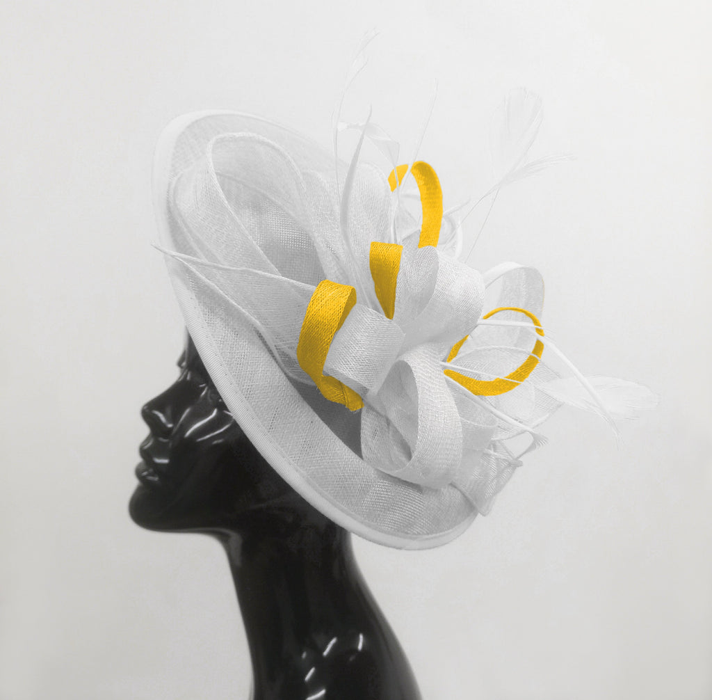 Caprilite Big Saucer Sinamay White & Yellow Mixed Colour Fascinator On Headband