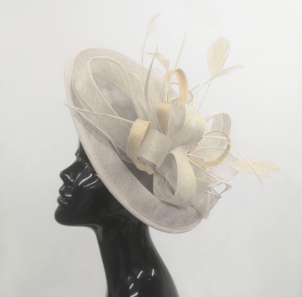Caprilite Big Saucer Sinamay Cream Ivory Colour Fascinator On Headband