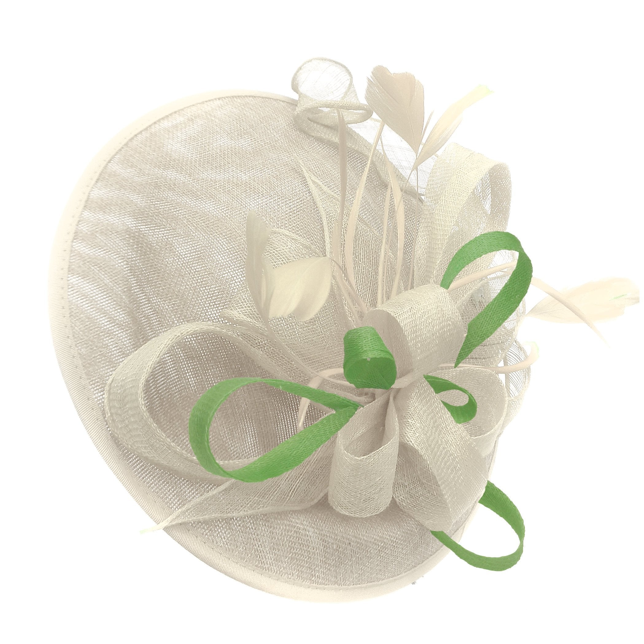 Caprilite Big Saucer Sinamay Cream Ivory & Lime Green Mixed Colour Fascinator On Headband