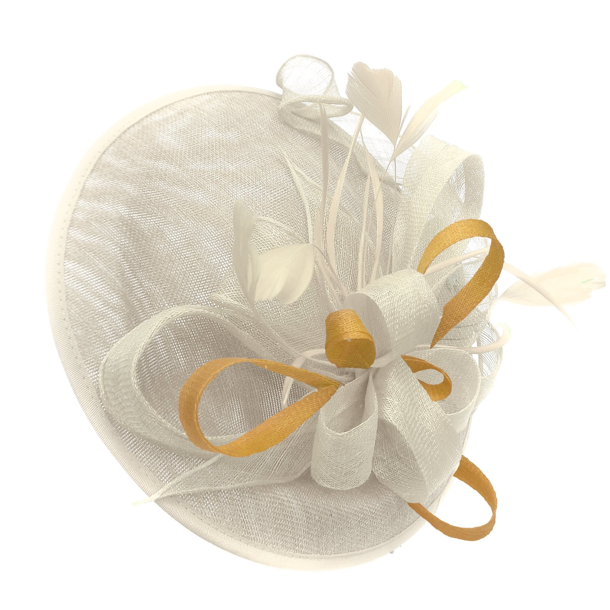Caprilite Big Saucer Sinamay Cream Ivory & Gold Mixed Colour Fascinator On Headband