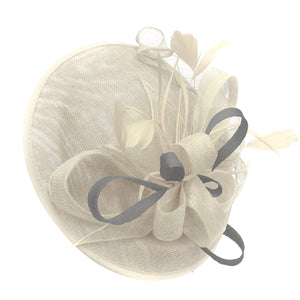Caprilite Big Saucer Sinamay Cream ivory & Silver Grey Mixed Colour Fascinator On Headband
